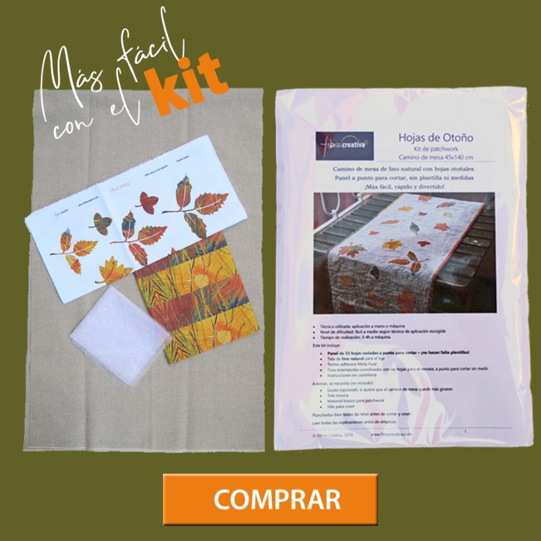 comprar el kit camino de mesa de patchwork en lino con hojas de otoño