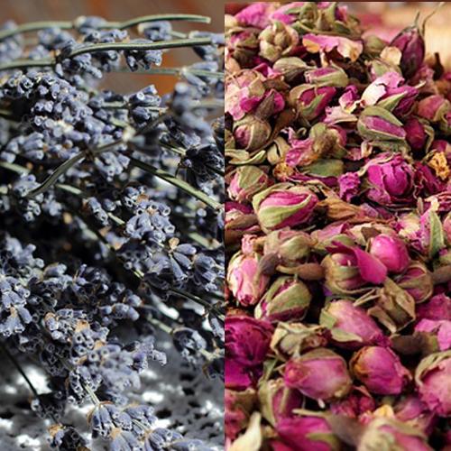 lavanda y rosas secas, rellono saquito de aromaterapia