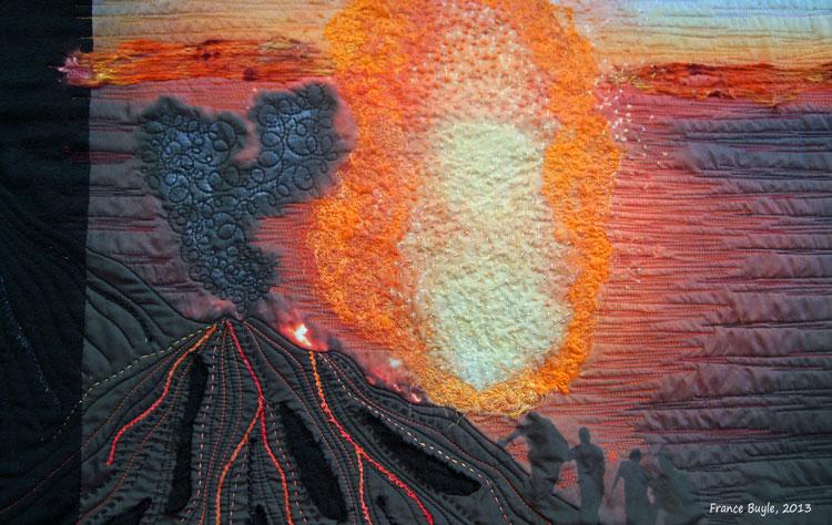 Fuego de la tierra. Detalle del art quilt Stromboli -- France Buyle 2013