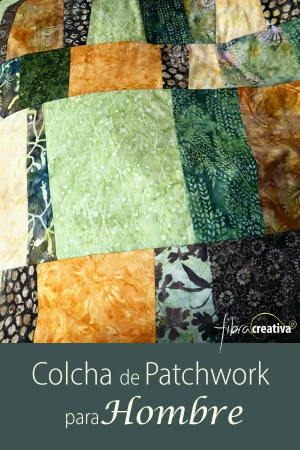 Colcha de patchwork para hombre de batiks en colores tierra y bosque patchwork improvidado -- Fibra Creativa