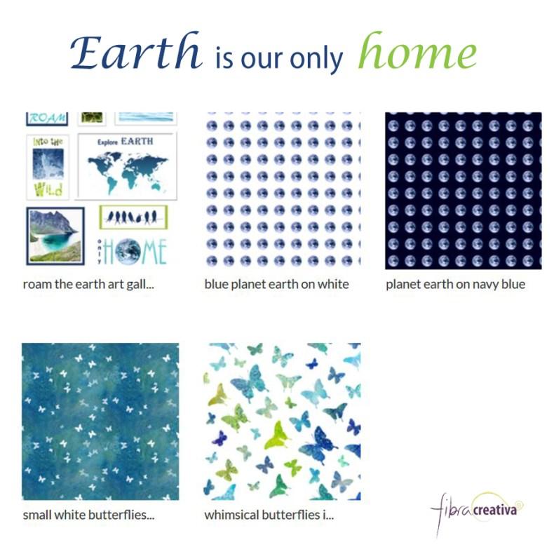 Colección de telas mariposas tierra verde azul de Fibra Creativa