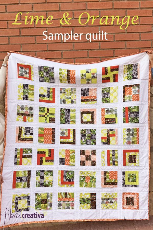 Colcha muestruario de patchwork  sampler en colores verde lima y naranja