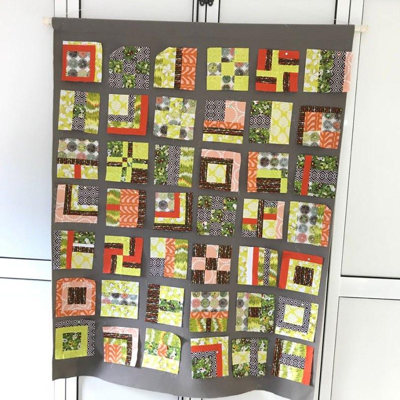 sampler quilt muestruario e patcwhork en muro de diseño