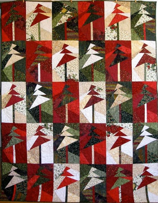 quilt de patchwork de Navidad moderno con abetos en rojo y verde blanco