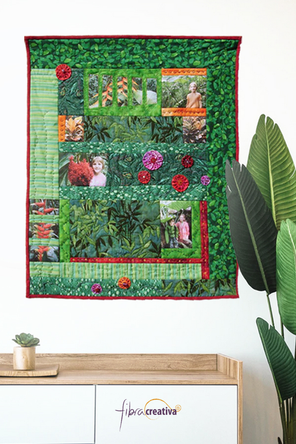 """Quilt souvenir avec photos """"Jarding tropical"""""""