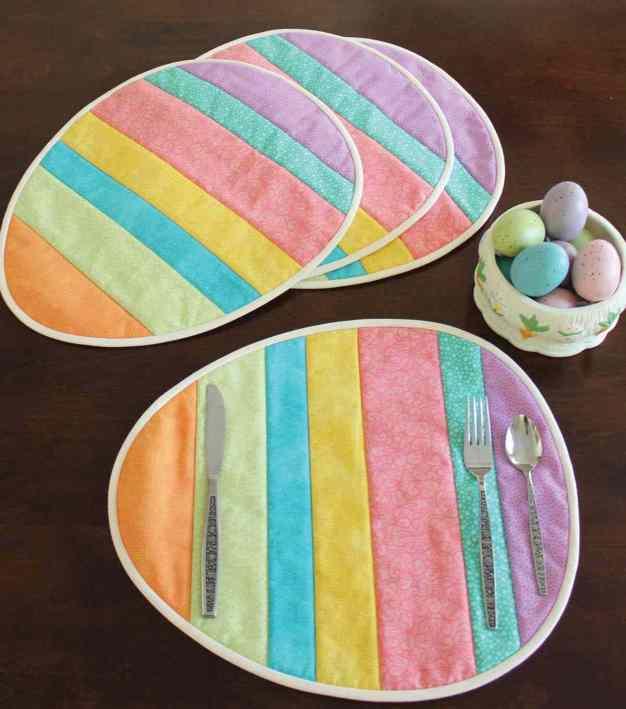 Huevos de pascua individuales de patchwork colores pasteles