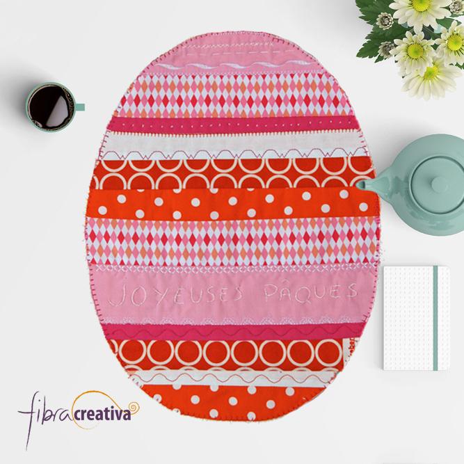 Individual de mesa de patchwork para pascua tutorial técnica quilt as you go