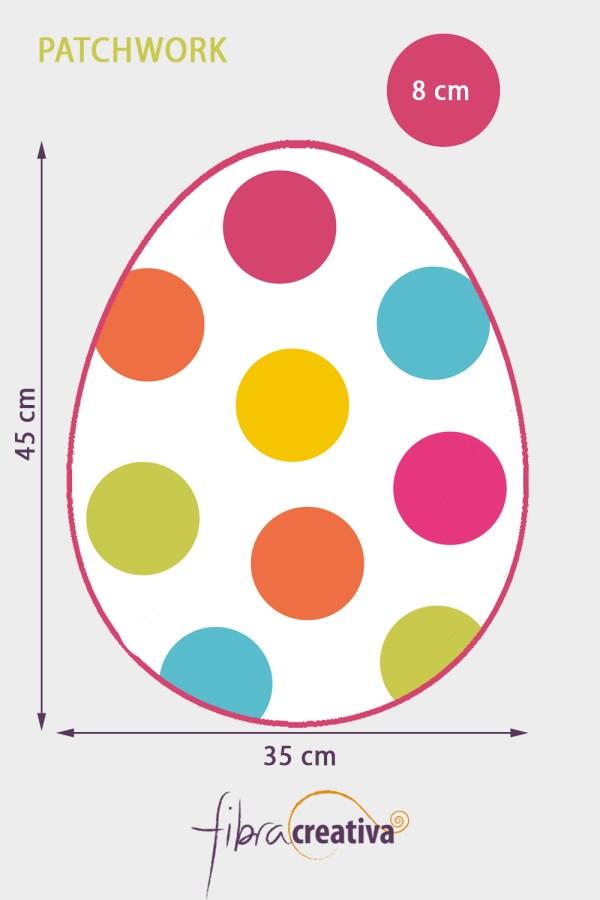 individual de mesa de patcwhork para Pascua en forma de huevo con aplicaciones de círculos