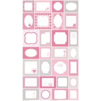 Pink Sew Labels Panel C2501-PINK