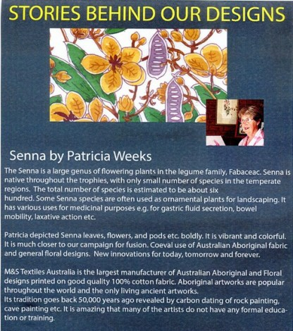 Information on Senna by Patricia Weeks