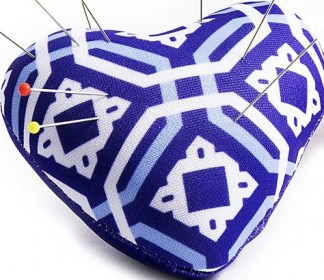 Heart Pin Cushion - Blue