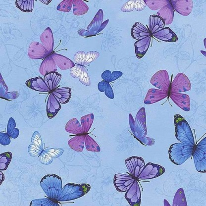 Butterflies on Etched Pansies C7725-BLUE