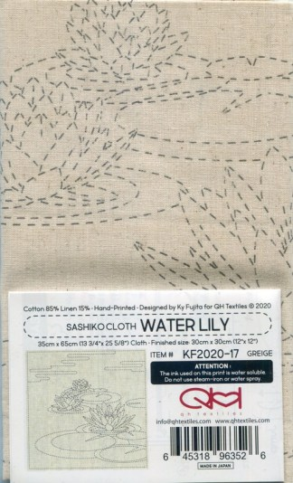 Sashiko Cloth Panel - Water Lily