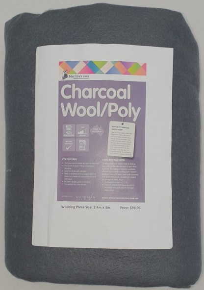 3 metres of Wool and Poly Wadding - Charcoal