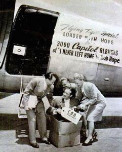 """1944 publicity photo for Bob Hope's """"I Never Left Home"""" album."""