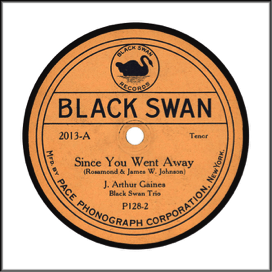 "Black Swan Record Label: Black Swan, an almost exclusively ""race record"" label. May be seen in orange and black, yellow, red, blue, black, purple, or red. Note black swan icon at top."