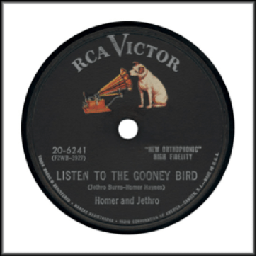 Record Label: 1942. Note the 2-digit pre-fix for the record series and the lack of a scroll design. Note the colorization of the dog.