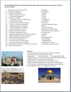 World Geography World Religions Review