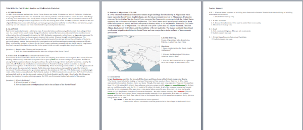 World History II Cold War Collapse Worksheet