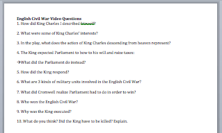 English Civil War Video Worksheet