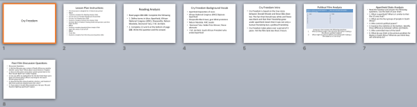Cry Freedom Film World History II SOLs Lesson Plans and Worksheets