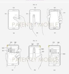 6 x samsung foldable smartphone patent figs 15abc 19abc patently mobile nov 2018 [ 1200 x 1351 Pixel ]