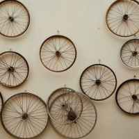 different shapes and sizes spoke wheels hanging on light wall