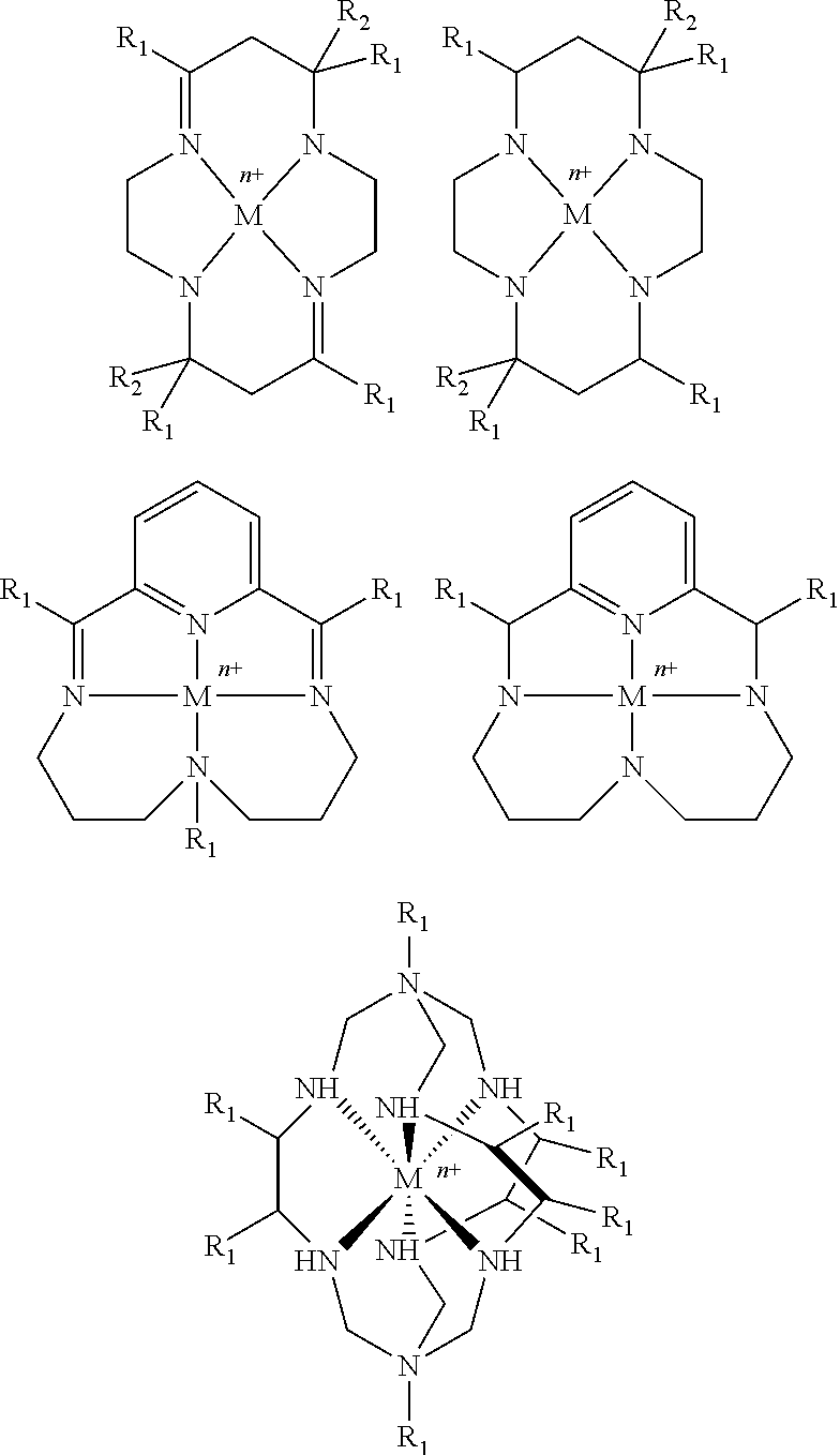 Metal porphyrins and related extended or restricted polypyrrole macrocycles or metal phthalocyanine plexes or metal cyclam and related