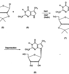 in kondo an mixture of nucleoside analog 8 was synthesized by coupling furanosyl chloride 5 with the heterocycle anion of 6 to yield the  [ 1792 x 1484 Pixel ]