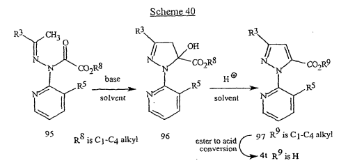 small resolution of  compound of formula 95 wherein r 8 is c 1 c 4 alkyl with a suitable base in a suitable organic solvent affords the cyclized product of formula 96 after