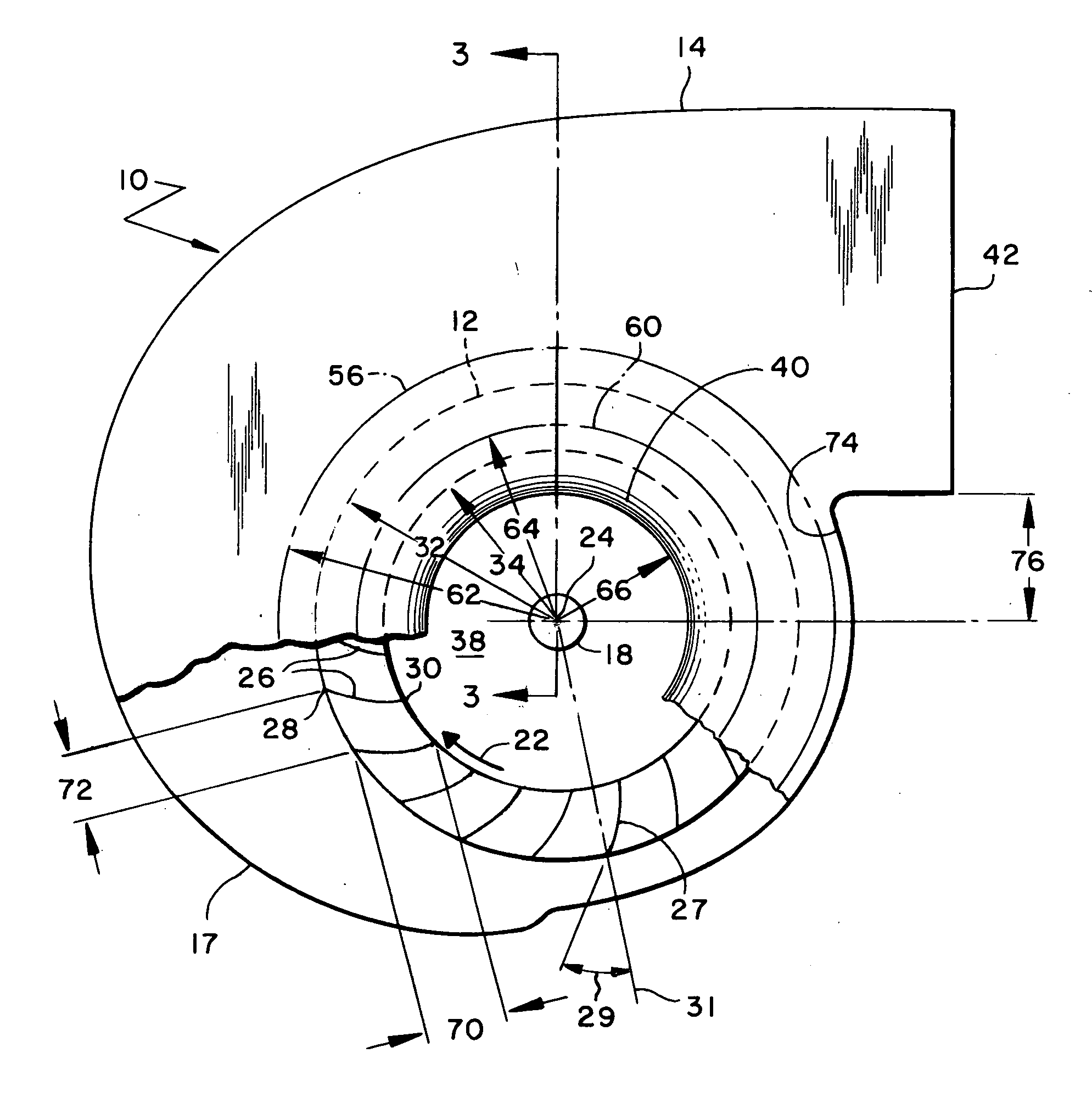 Patent US20060034686 Fan Inlet And Housing For A Centrifugal