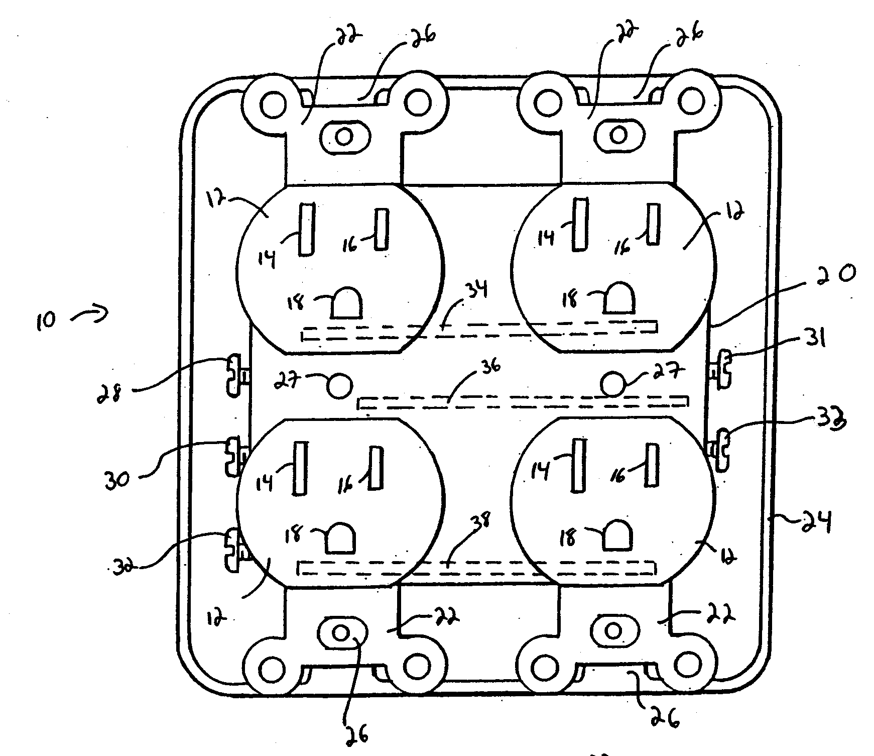 double duplex outlet wiring diagram for split ac unit patent us20080188121 modular electrical receptacle