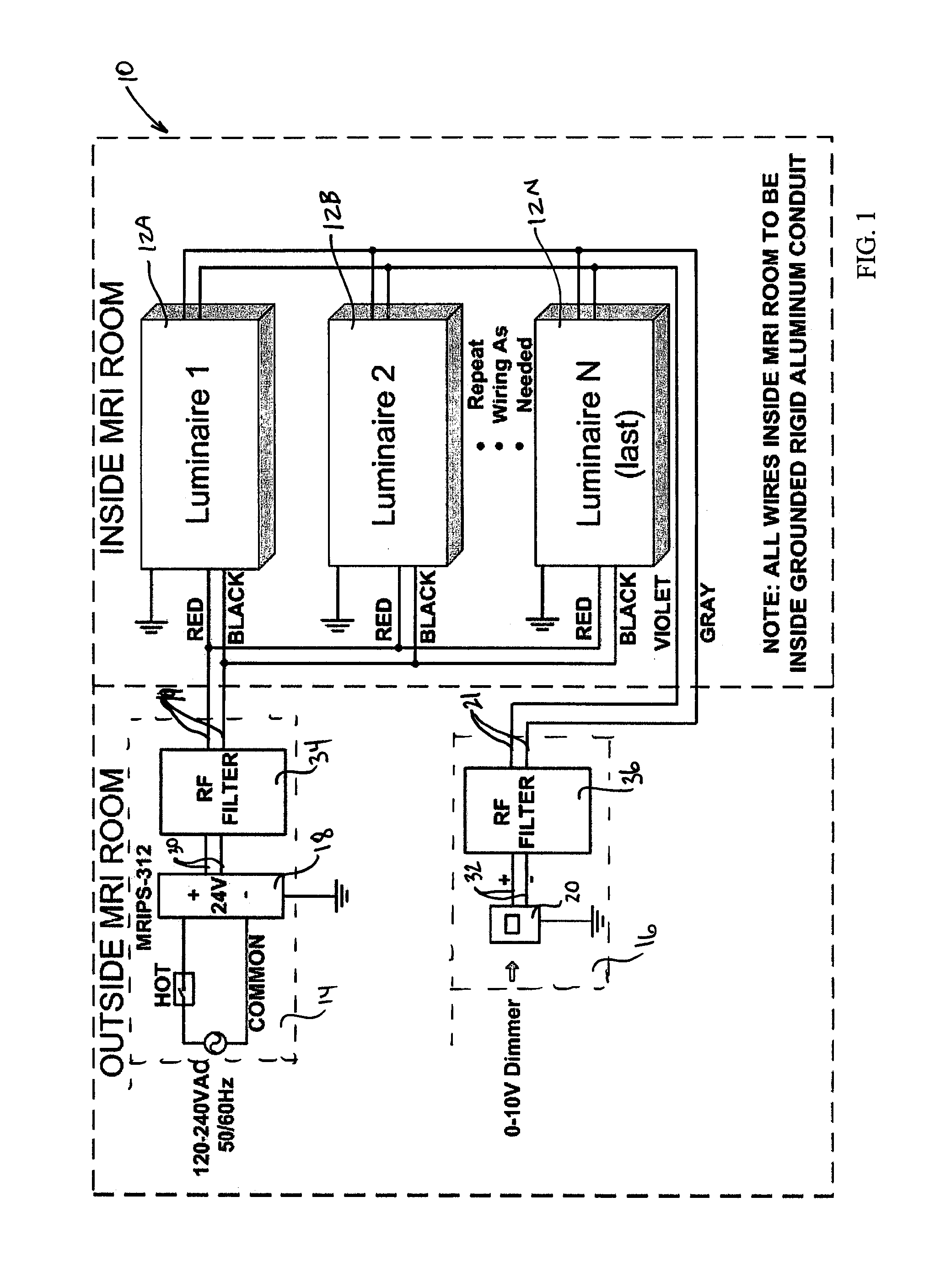 wiring downlights diagram combination double switch patent us20110279032 mri room led lighting system