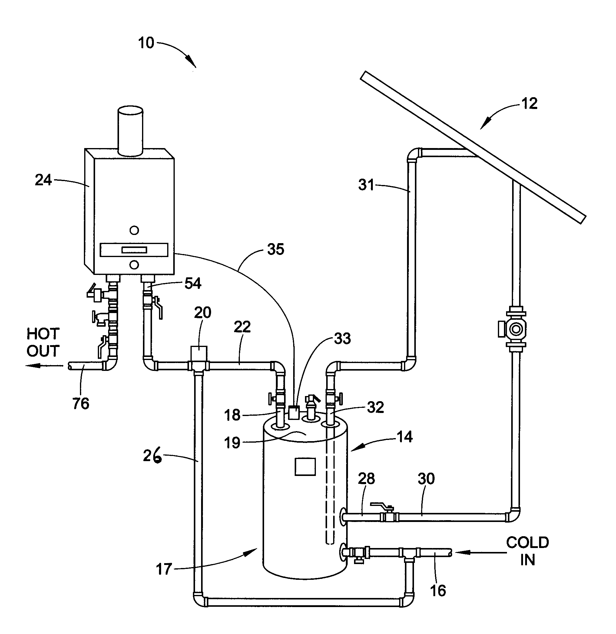solar water heating system diagram
