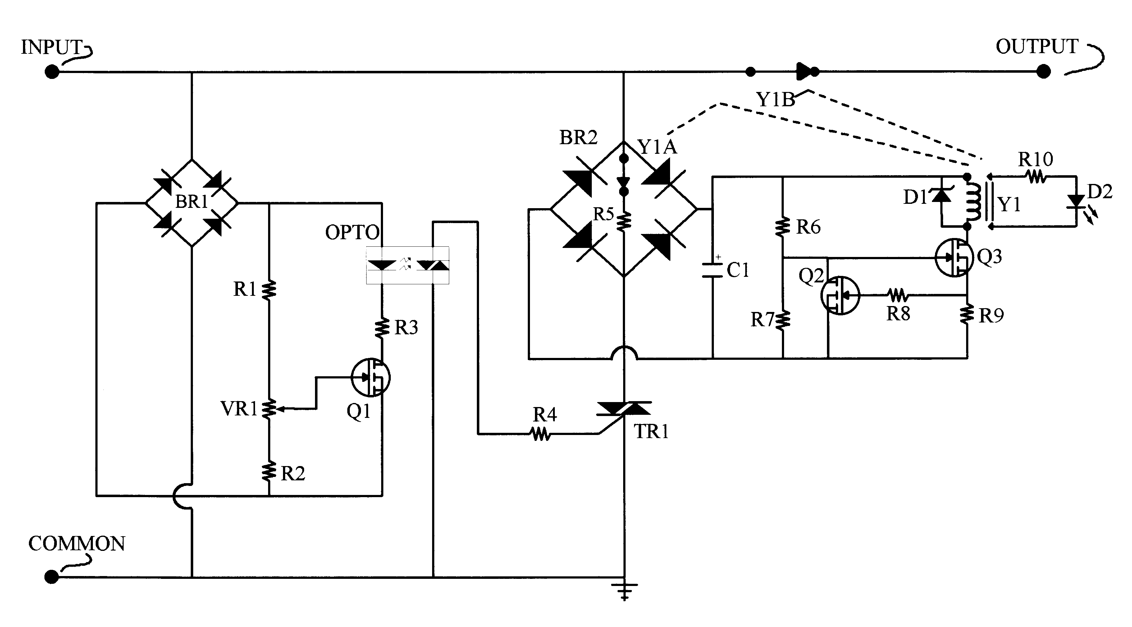 between gate control of the current in a thyristor and the control