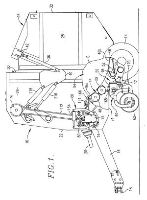 Patent US6272825  Round baler having hydraulically