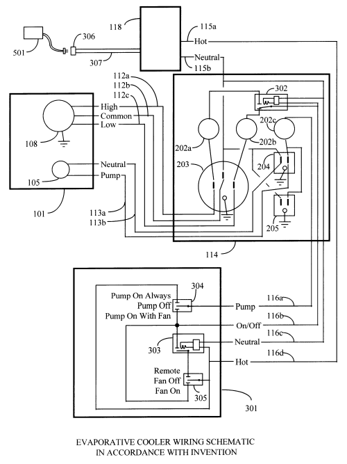small resolution of patent us6357243 remote control system for evaporative duct fan wiring diagram