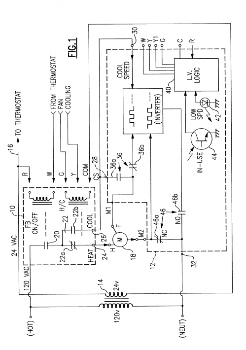 small resolution of patent us6369544 furnace and air conditioner blower charging nordyne package unit nordyne heat pump thermostat wiring