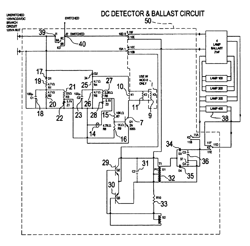 medium resolution of us06628083 20030930 d00000 patent us6628083 central battery emergency lighting system philips bodine b50 wiring diagram at