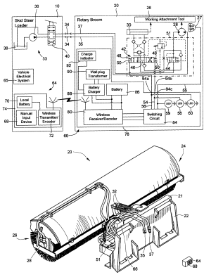Patent US6662881  Work attachment for loader vehicle having wireless control over work