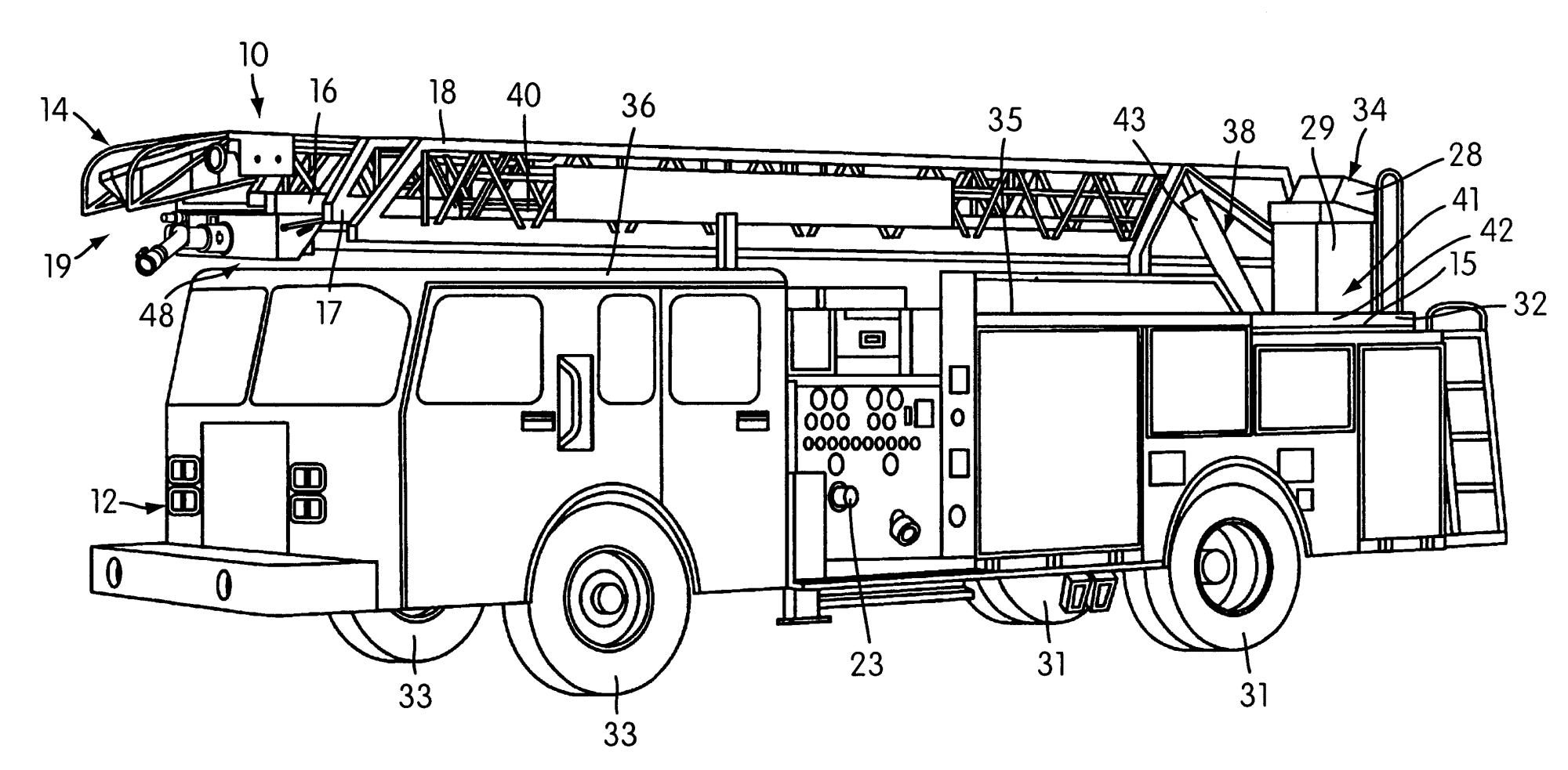 hight resolution of patent us6755258 aerial ladder fire fighting apparatus