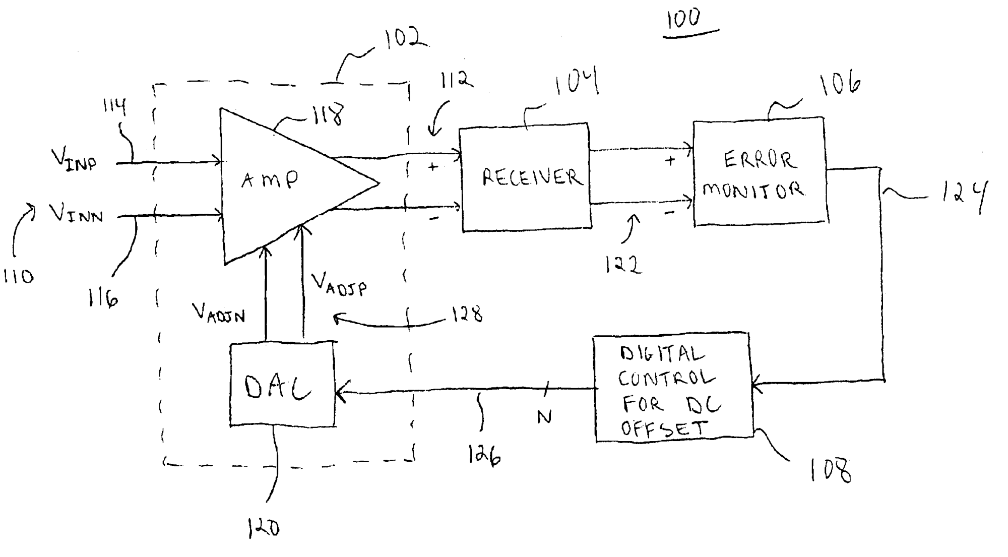 hight resolution of patent us6897700 amplifier with digital dc offset cancellation circuit diagram to offset large dc offset amplifiercircuit