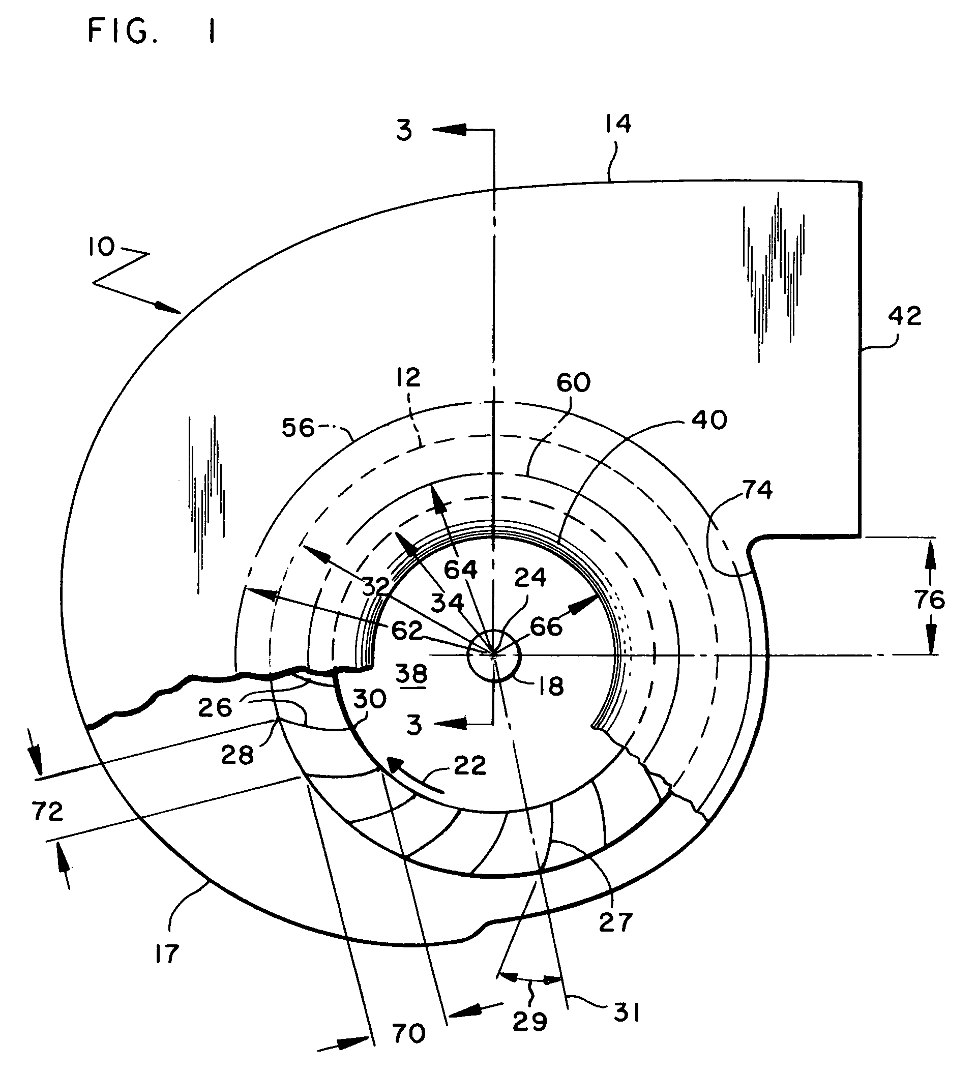 Patent US7186080 Fan Inlet And Housing For A Centrifugal Blower