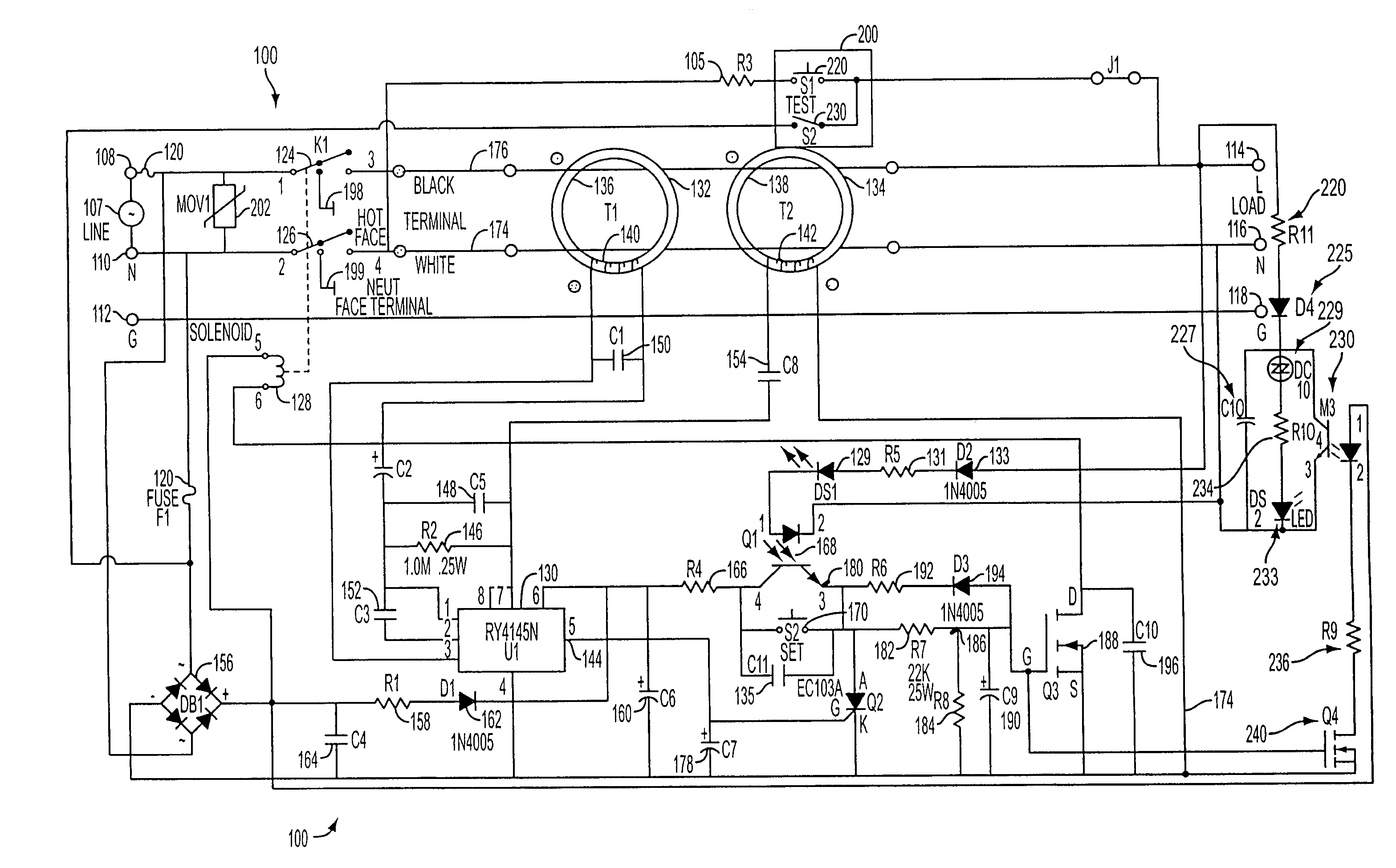 gfci wiring diagrams nest diagram patent us7336457 ground fault circuit interrupter