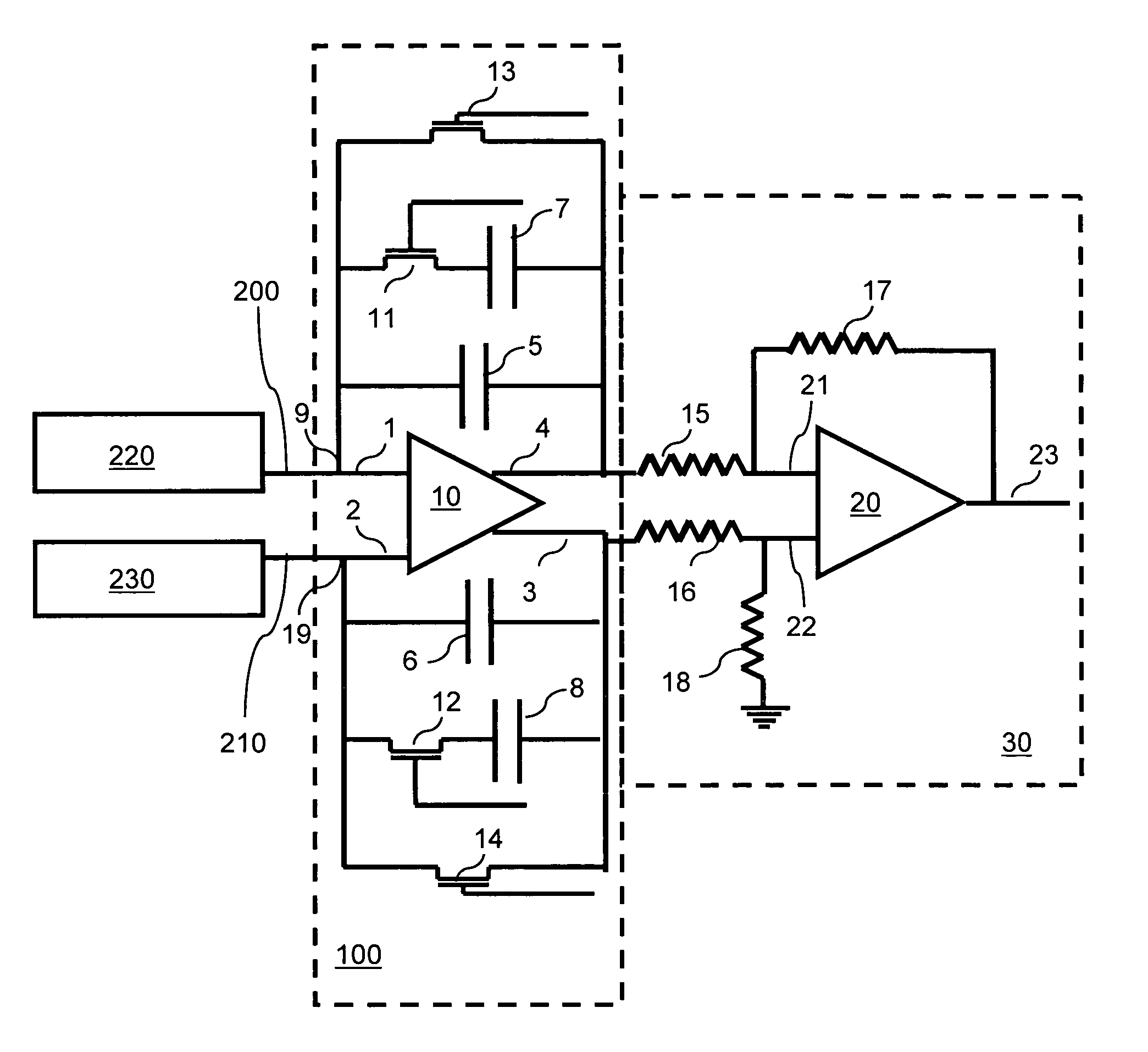 transimpedance amplifier with current amplifier circuit electrical