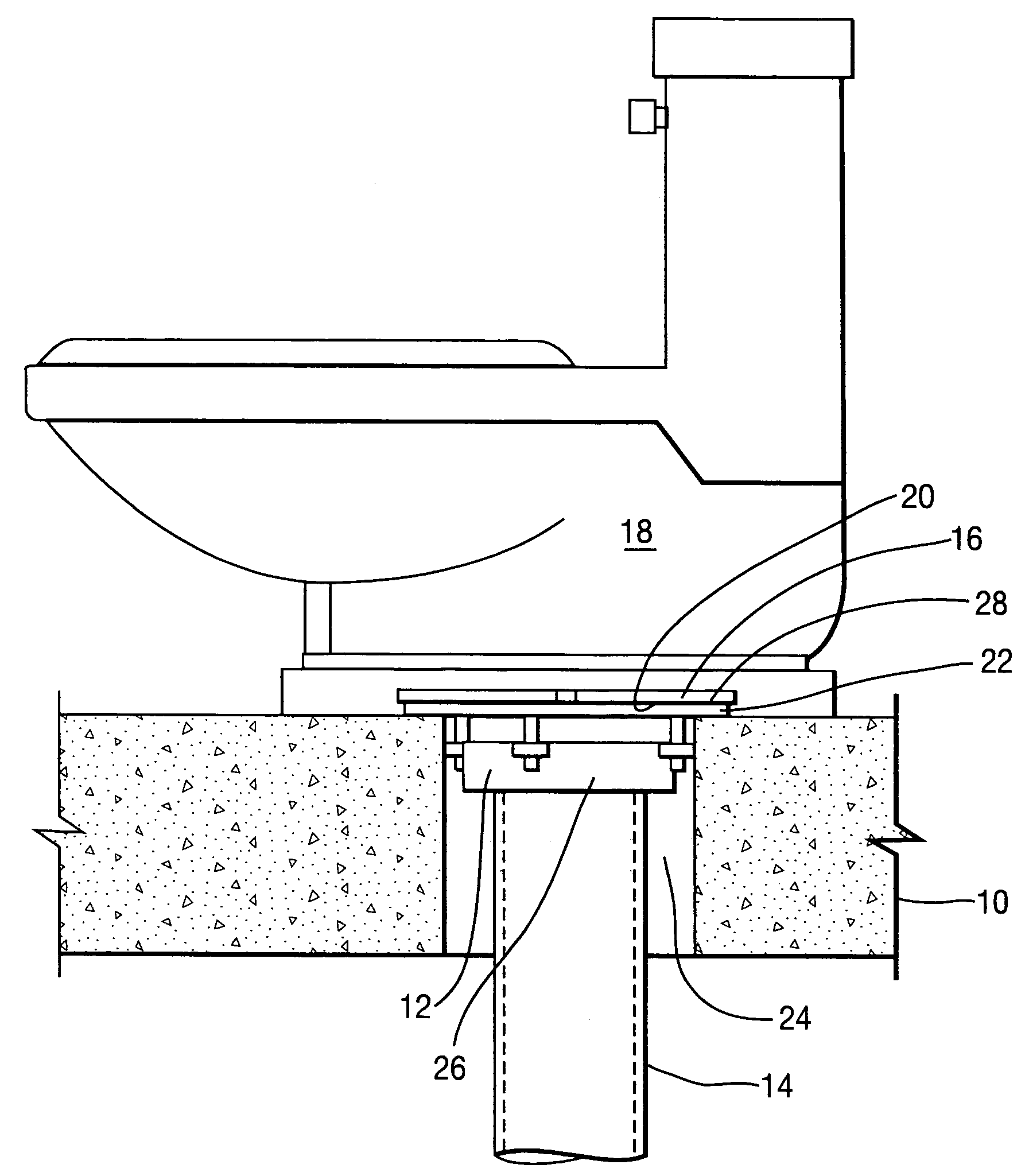 toilet flange diagram fender squier bass wiring patent us7694474 method and apparatus for firestopping