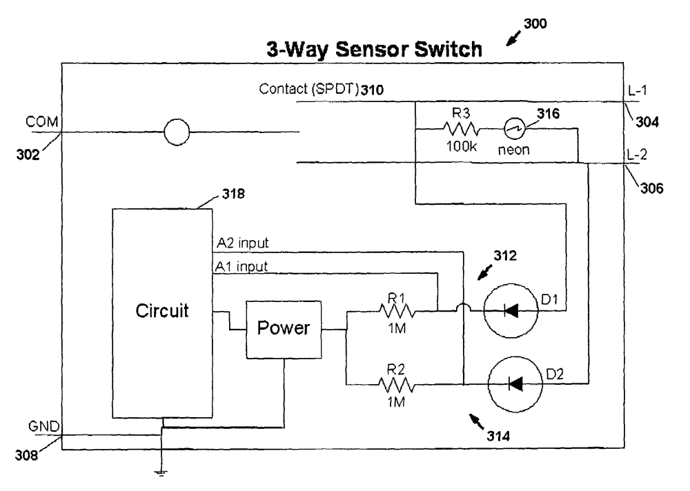 medium resolution of  us07791282 20100907 d00000 patent us7791282 motion sensor switch for 3 way light circuit at aneh