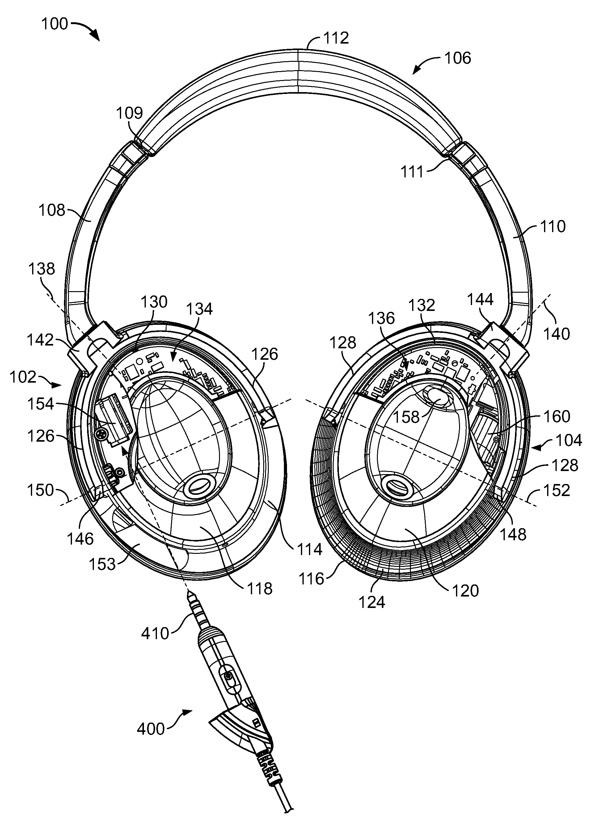 hight resolution of us08031878 20111004 d00000 patent us8031878 electronic interfacing with a head mounted bose headphone bose headphone wiring diagram