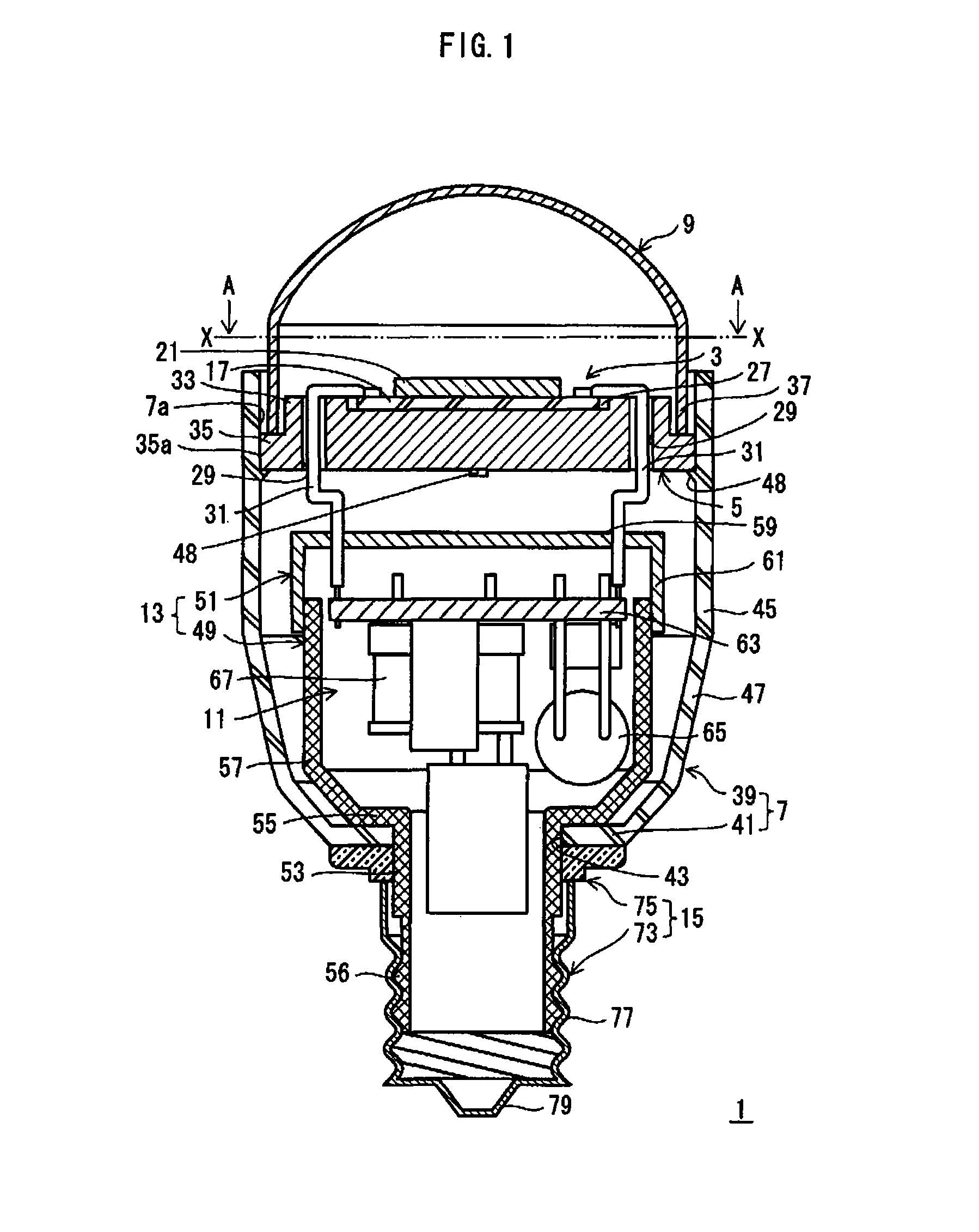 Patent us8038329 bulbshaped l and lighting device