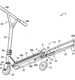 patent us8613457 scooter assemblies and scooter deck assemblies gy6 150cc scooter vacuum diagram scooter deck diagram [ 2146 x 1804 Pixel ]